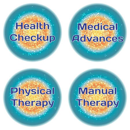 advances: Word Health Checkup. Medical Advances. Physical Therapy. Manual Therapy. Health concept with text in a high-tech frame. Modern Medical concept. Vector Illustration