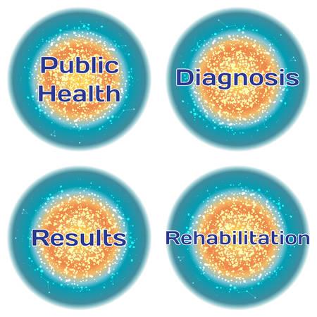 salud publica: Palabra de Salud P�blica. Diagn�stico. Resultados. Rehabilitaci�n. Concepto de la salud con el texto en un marco de alta tecnolog�a. Concepto m�dico moderno. Vector