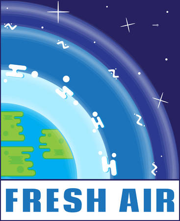 fresh air: Fresh air eco logo in flat style. Logo modern design. Emblem, banner, sticker, icon Illustration