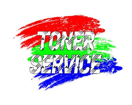 Logo Toner Service na pociągnięciach grunge w kolorach RGB. Ilustracji wektorowych