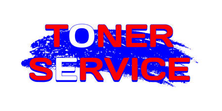 Logo Toner Service on grunge blue color brush stroke. GRB palette. Vector illustration