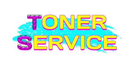 Toner Service on cyan color brush stroke. CMYK color. Vector illustration Illustration