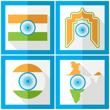 15 august: India Independence Day. 15 th of august. Set of icons in flat style. Vector