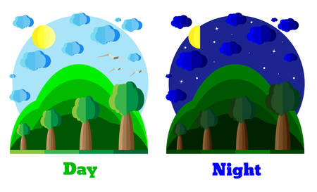 day and night: Natural summer landscape in flat style. Day. Night. Example for card, banner, badge. Environmental themes vector