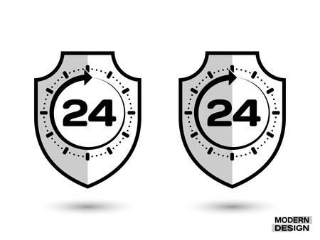 Beschermingsschild met schaduw en teken - de klok rond, 24 uur. Pictogram geïsoleerd op een witte achtergrond. Vector illustratie