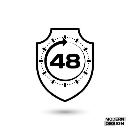 48: Protection shield and sign - 48 hour cycle. Icon isolated on white background. Vector illustration