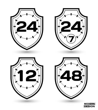 48: Set of protection shields with sign on clock face - 12, 24, 24-7, 48 hour cycle. Icon isolated on white background. Vector illustration