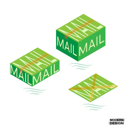 mail order: Packaging mail order boxes sealed tape. Large, medium and small green mail packaging. Vector illustration Illustration