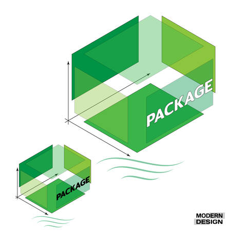 Medium green packing box in 3D isometric view, in cross-section, with the inscription on the side. Segment structure of the box or packaging. Vector illustration