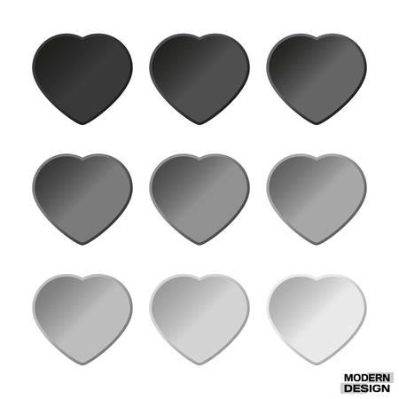 Set Von Papier Herzen Braune Graduierung Farben. Vector Herzen ...