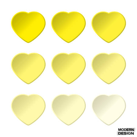 Set hearts yellow graduation colors. Vector hearts palette for a design