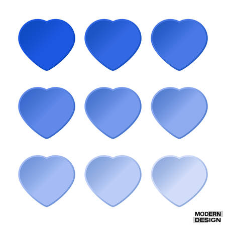 Set hearts light blue graduation colors. Vector hearts palette for a design