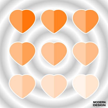 Set of paper hearts light orange graduation colors. Vector hearts palette in form of postcards for a design