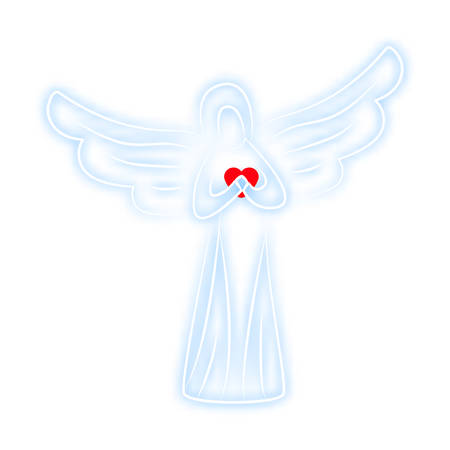 herald: Angel on pure white background. Angel soft blue color with red heart in hands as symbol of love and happiness. For design of covers, printing on fabric or paper