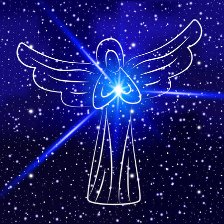 Angel on blue space background. Angel with shining sun, star in hands as symbol of peace and good. For design of covers, printing on fabric or paper