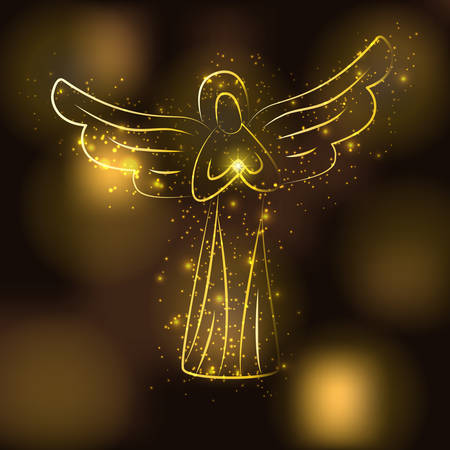 Golden angel silhouette on brown glowing gold background. Angel with shining sun or star in his hands. Angel surrounded by glittering stars, gold particles Vectores
