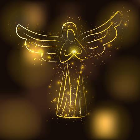 silueta del ángel de oro sobre fondo marrón de oro brillante. Ángel con el brillo de sol o una estrella en sus manos. Ángel rodeado de estrellas brillantes, partículas de oro