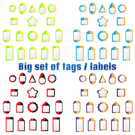 wares: Set of labels, tags of various shapes and colors. For design of labels, tags on clothes, goods, wares. On field for text. For sales and shares