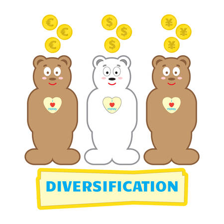 financial diversification: In moneybox fall different coins. Dollar, euro, yen. Piggy banks in the form of bears. Concept business of a situation. Diversification of investments Illustration
