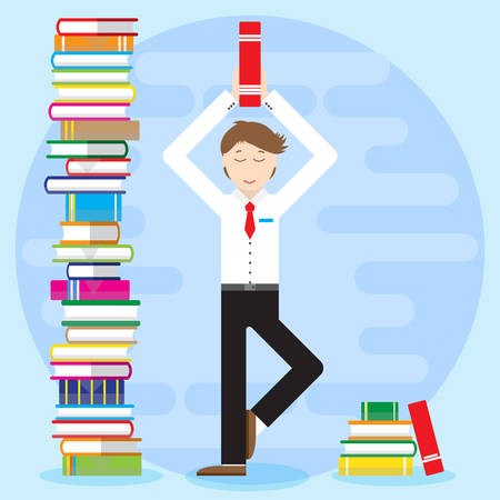 meditates: Young man, office worker, student, pupil, businessman costs in yoga pose. Holds book, textbook in hand and meditates. Nearby big piles of books. Flat style Illustration