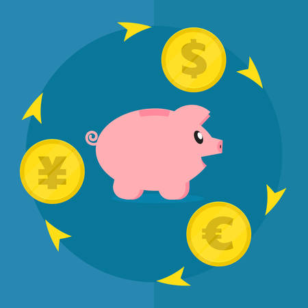 Pig piggy bank surrounded by different coins. Dollar, euro, yen. Concept business of a situation. Diversification of investments