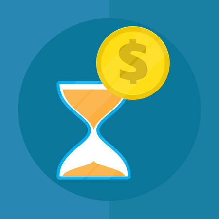 Time is money concept. Hourglass and coins. Flat style. Icon. Vector