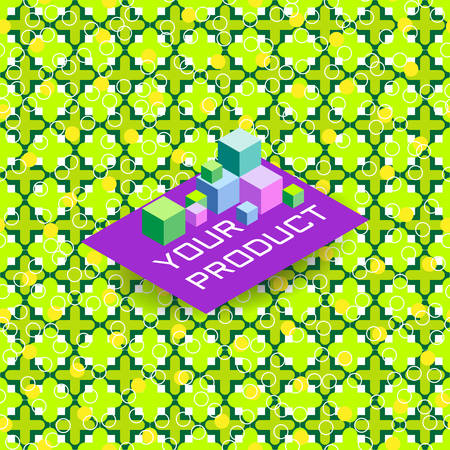 green cross: Seamless background of green cross and circle pattern for product presentation, in Arabian style. Basis for display of goods. Vector illustration Illustration