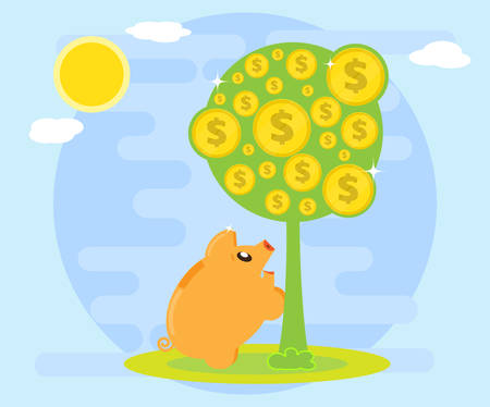 Happy pig piggy bank is facing a money tree as a symbol of wealth. The love of money. Creating wealth through investment and cash flow. Flat style