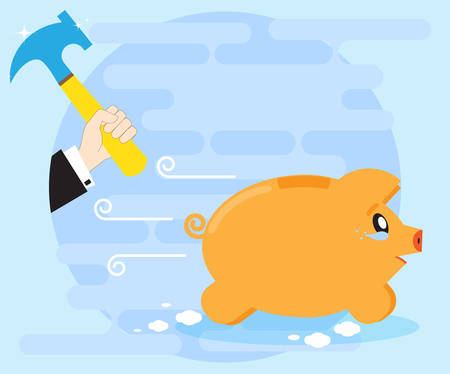 Weeping piggy pig bank escapes from the hands of a businessman with a hammer. Risky investments. Losing money, savings. Financial crisis. Flat style Illustration