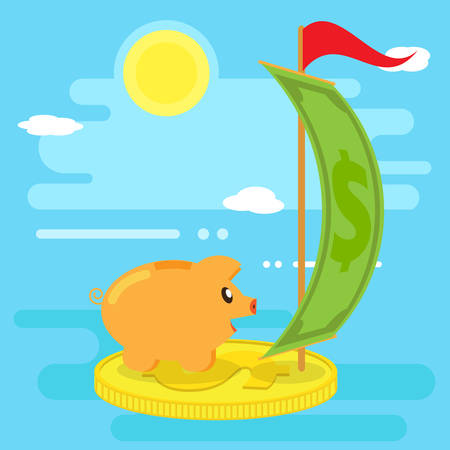 Happy pig piggy bank floats on a raft from a coin by sea of financial opportunities. Flat style