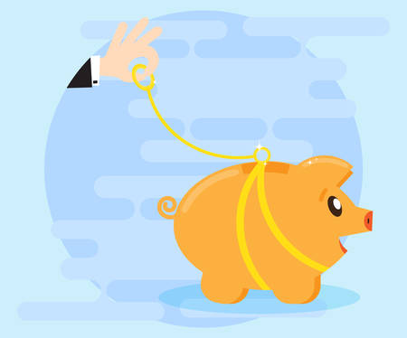 creating wealth: Happy piggy pig bank walks on a leash. Businessman hand holding a leash. Control wealth, the protection of savings, money. Creating wealth through investment and cash flow. Flat style