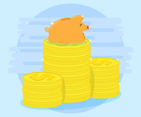 cash flows: Happy pig piggy bank lying on a pile of coins. The love of money. Successful investments and cash flows make profit and wealth. Protection of savings. Flat style