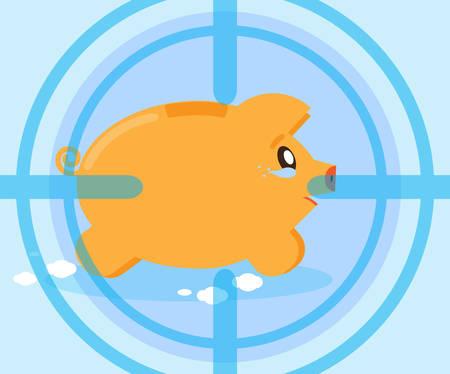 losing money: Weeping pig piggy bank at gunpoint. Risky investments. Losing money, savings. Financial crisis. Flat style