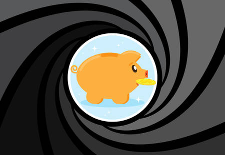 losing money: Happy Pig piggy bank with a coin at gunpoint. Risky investments. Losing money, savings. Financial crisis. Scammers want to rob, take the money. Flat style