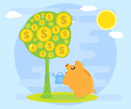 Happy pig piggy bank watering money tree. Symbol of wealth. The love of money. Creating wealth through investment and cash flow. Flat style