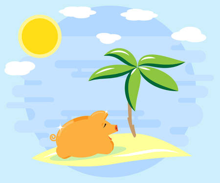 Happy pig piggy bank resting on the island, on the beach under a palm tree. The love of money. Successful investments and cash flows bring recreation, vacation. Flat style
