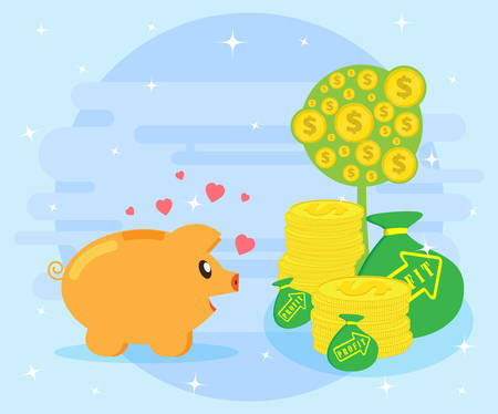creating wealth: Happy pig piggy bank is facing the symbols of wealth. The love of money. Creating wealth through investment and cash flow. Flat style