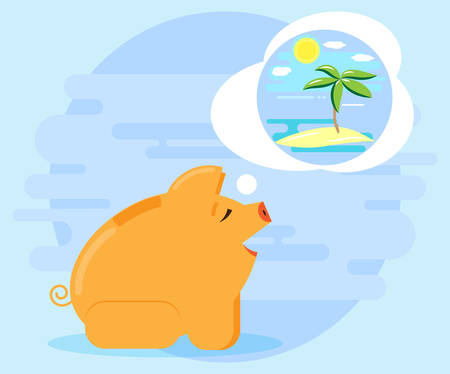 cash flows: Happy pig piggy bank dreaming about summer vacation. Investments and cash flows allow dream vacation, holiday. Flat style