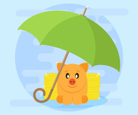 cash flows: Happy pig piggy bank surrounded by stacks of coins sitting under an umbrella. The love of money. Successful investments and cash flows make profit and wealth. Protection of savings. Flat style