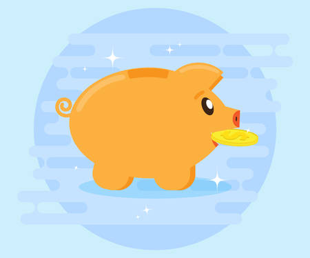 creating wealth: Happy pig piggy bank brings the gold coin. Investments. Creating a cash flow for profit and wealth. The love of money. Flat style