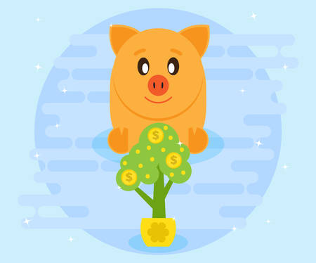 Happy pig piggy bank sits and watches as a growing money tree. Investments. Creating a cash flow for profit and wealth. The love of money. Flat style