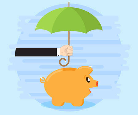 cash flows: Happy pig piggy bank standing under an umbrella that holds the hand of a businessman. Protection of savings. Successful investments and cash flows are profitable and wealth. Flat style