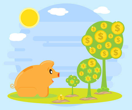 creating wealth: Happy pig piggy bank is sitting and watching stages of growth of a monetary tree. Investments. Creating a cash flow for profit and wealth. The love of money. Flat style