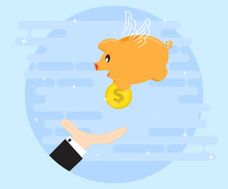 Happy pig piggy bank brings the gold coin as a good angel. Businessmans hand catches the coins. Investments give a profit, wealth. The love of money. Flat style Illustration