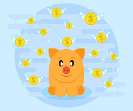 creating wealth: Happy pig piggy bank sits surrounded by flying coins. Investments give a profit, wealth. Creating a cash flow. The love of money. Flat style