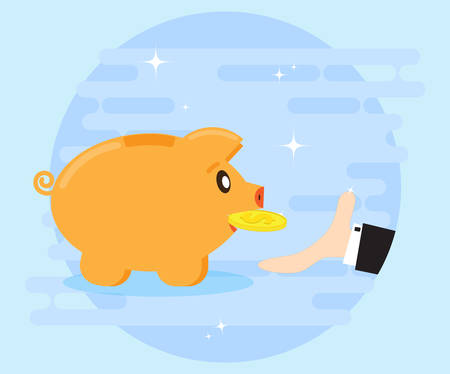 love of money: Happy pig piggy bank brings the gold coin. Businessmans hand catches the coins. Investments give a profit, wealth. The love of money. Flat style