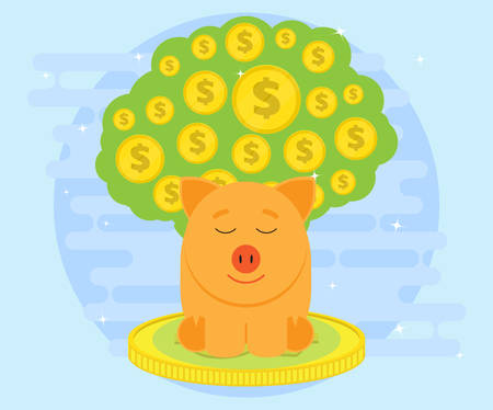 meditates: Happy pig piggy bank sitting on coins and meditates on a background of big money tree. Money likes peace and quiet. Investments give a profit, wealth. Creating a cash flow. Flat style Illustration