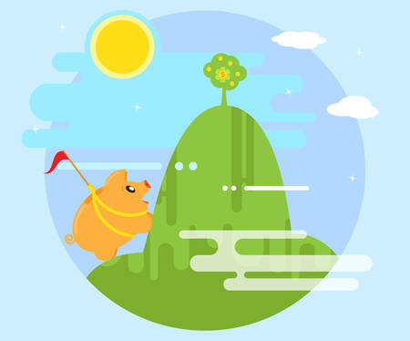 millonario: Feliz banco guarro supera las dificultades con el fin de conquistar la montaña sobre la que crece un árbol de dinero. El trabajo para obtener beneficios y la riqueza. estilo plano
