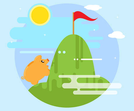 conquer: Happy pig piggy bank overcomes difficulties in order to conquer the mountain. Achieving the goal. Success and recognition. The work for profit and wealth. Flat style