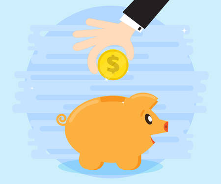 creating wealth: Businessman hand down a coin in the pig piggy bank. Creating a cash flow. Investing for wealth and profit. The love of money. Flat style